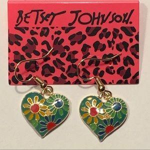 Betsey Johnson Style - Floral Heart Earrings
